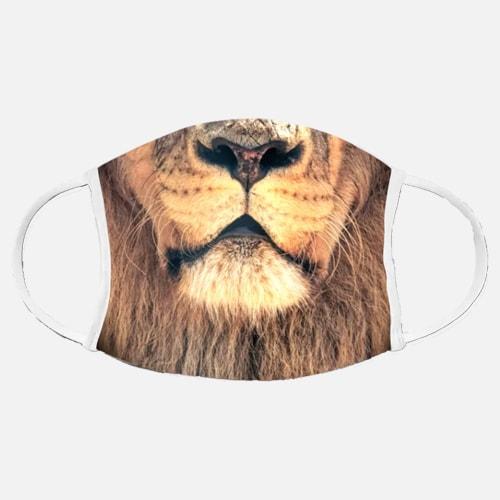 Bild mit Gesichtsmaske mit Motiv Löwe